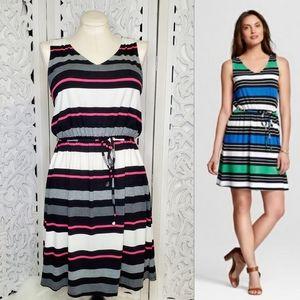 Merona Black Pink Striped Sleeveless Tank Dress L